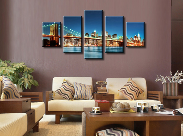 5 Panels Beautiful Urban Construction Bridge Top Rated Canvas Print For Living Room Wall Art