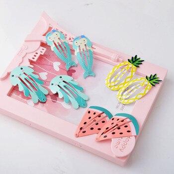6pcs New Cute Cartoon Children Hairpin Color Fruit Baby Hair Clip Mermaid Watermelon Pineapple Hair Accessories