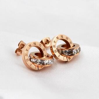 Из нержавеющей стали, двойной круг серьги для женщин orecchini, розовый цвет золотистый Кристалл Шпилька Серьги Brincos Aretes Bijoux Femme
