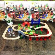 Горячая 82 шт деревянный поезд трек набор бука рельс автомобиль трек собранные модели строительные блоки головоломка игрушка для детей