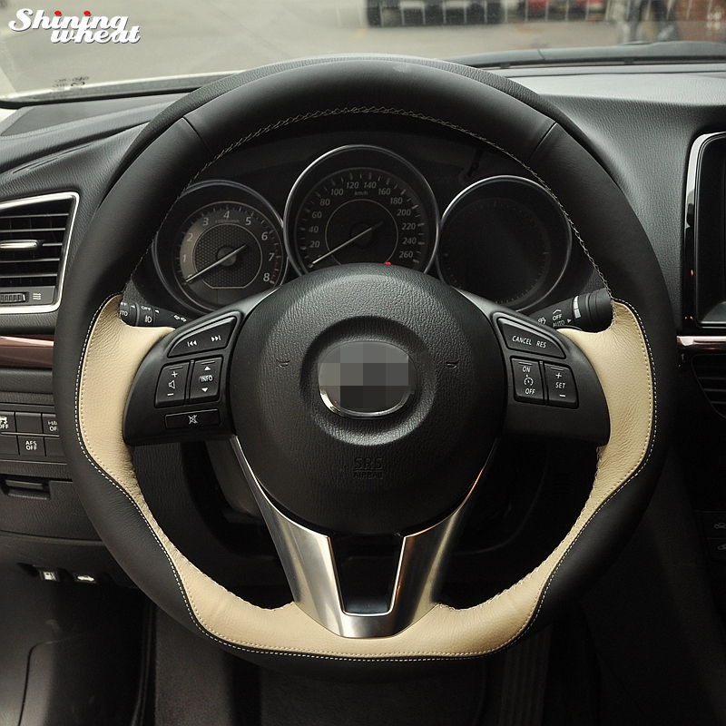 Shining wheat Hand stitched Black Beige Steering Wheel Cover for Mazda CX 5 CX5 Atenza 2014