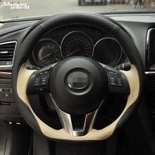 Сияющий пшеницы Ручной Работы Черный Бежевый Руль Обложка для Mazda CX-5 CX5 Atenza 2014 Новая Mazda 3 CX-3 2016