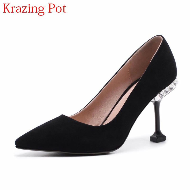 2018 Shoes Women Fashion Sheep Suede Pointed Toe Stiletto Wedding Shoes High Heels Crystal Heels Shallow Party Women Pumps L27 beango 2018 new fashion women high heels pointed toe striped pumps mixed colors rivet stiletto party wedding shoes woman