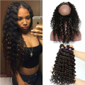 7A 360 Lace Frontal With Bundles Brazilian Virgin Hair Deep Curly Weave With Frontal 360 Lace Frontal Closure With Bundles