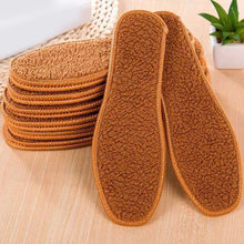 1 pair Unisex Brown Winter Faux Fur Wool Insoles Men Women Warm Soft Thick Insole For Snow Boots High Quality Wholesale(China)