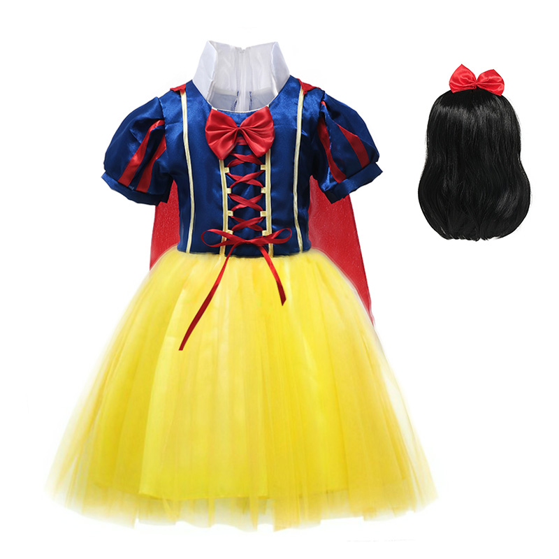 цена Girls Snow White Dress Children Princess Halloween Party Cosplay Costume with Wig Lantern Sleeve Dress with Cloak Fancy Clothes