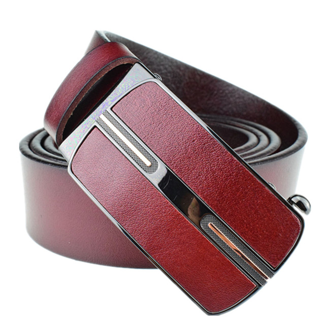 Mens Luxury Brand Belt 100% Leather Business Belts Automatic Buckle Genuine Leather Belt Men Accessories Casual Waist Belt L4010