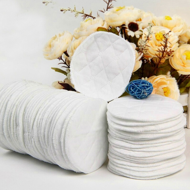 2/12pc Reusable Nursing Breast Pads Washable Soft Absorbent Baby Breastfeeding Waterproof Breast Pads 3layers Pure Cotton A1A66