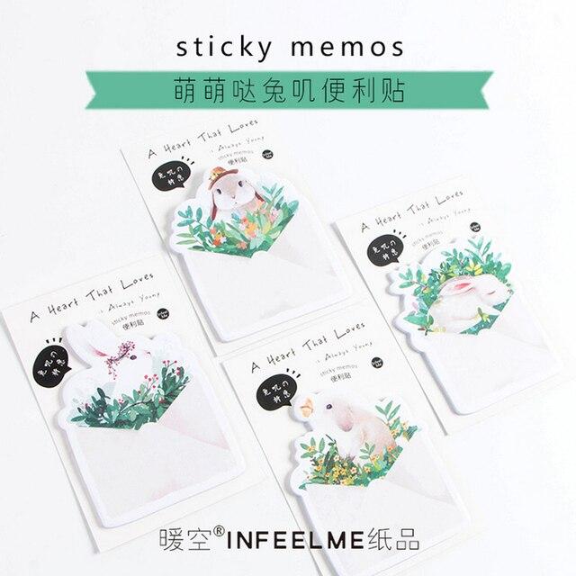 1 Х милый Симпатичный кролик memo pad бумаги заметки разместить его kawaii канцтовары школьные принадлежности материал эсколар papeleria