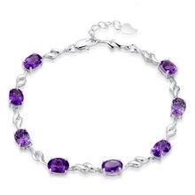 Женский браслет из серебра 925 пробы с фиолетовыми кристаллами