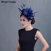 Yarn Bridal Headdress Wedding Party Poly Show Hat Feather Head Flower Bridal Hat with Veil Chapeau Femme Mariage Mingli Tengda