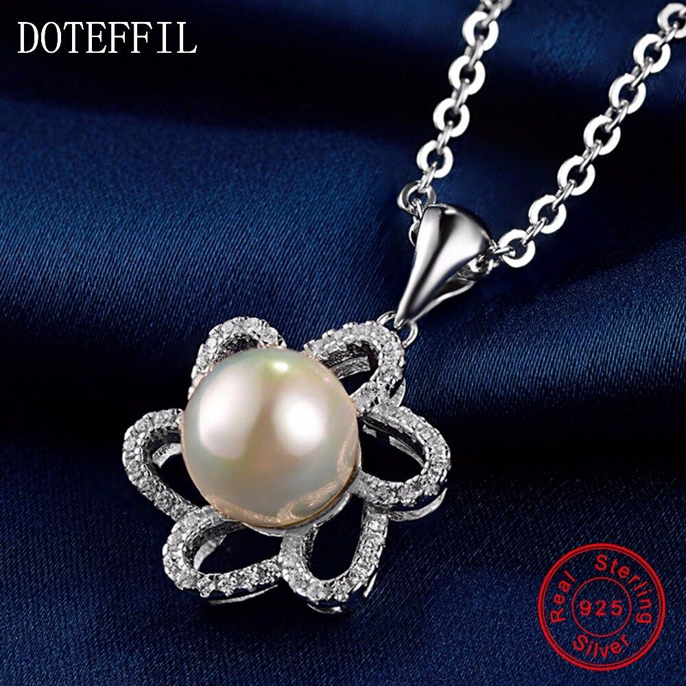Collier fleur femme 925 argent charme rond 11mm AAAA perle pendentif collier 100% argent Sterling bijoux de luxe cadeau de l'amour