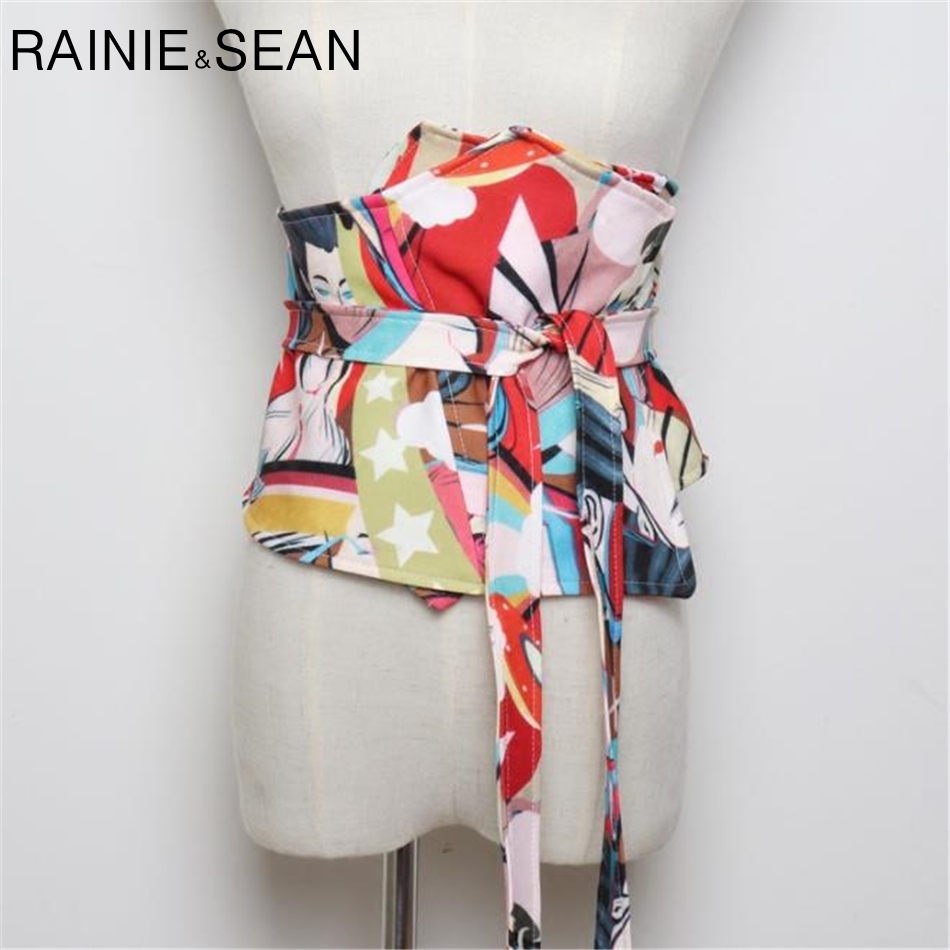 RAINIE SEAN Extra Wide Belt Ladies Wide Waistband Print Cummerbunds For Women Self Tie Corset Bow Strap Ladies Japanese Belt