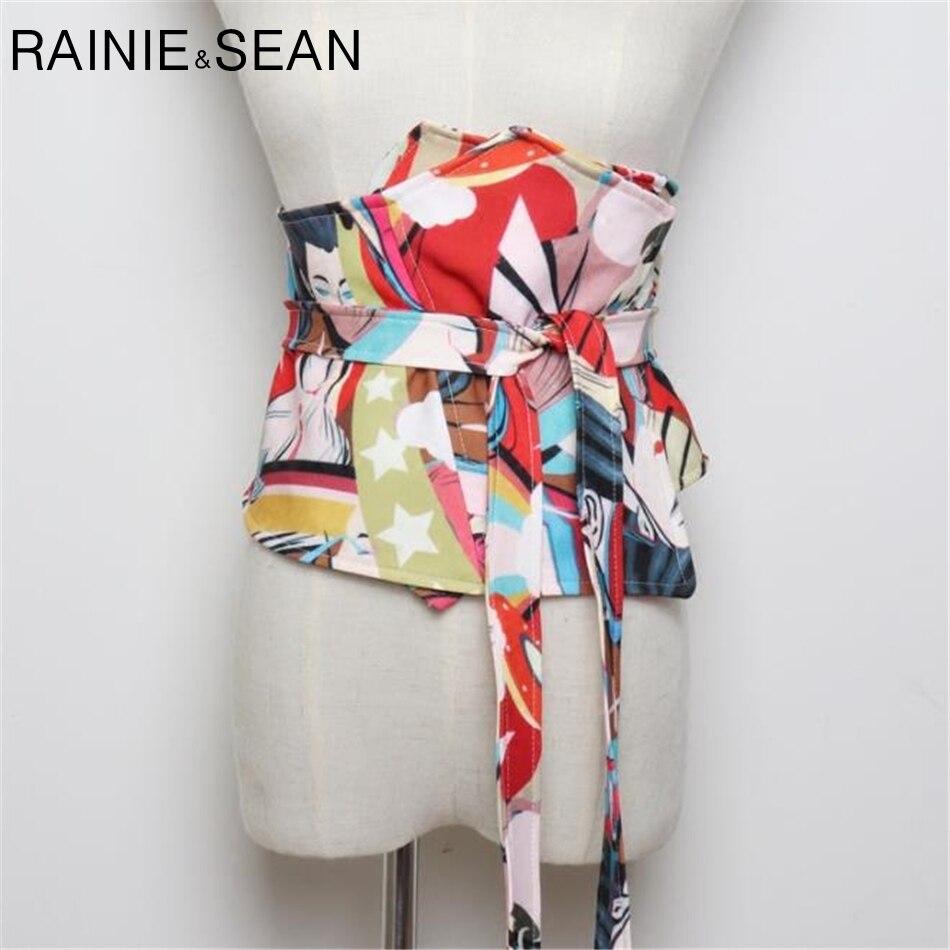 RAINIE SEAN Extra Wide Belt Ladies Wide Waistband Print Cummerbunds For Women Self Tie Corset Bow Strap Ladies Japanese Belt