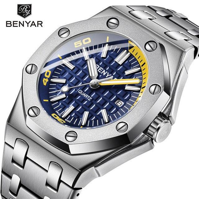 Benyar Men Watch Top Marca de Luxo Militar Reloj Hombre Relógios de Quartzo de Aço À Prova D' Água Esporte relógios de Pulso Casual Montre Homme