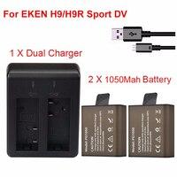 2x1050 мАч Спорт действий Батареи для камеры для EKEN H9 h9r h3r h8pro h8r Pro SJCAM SJ4000 sj5000 Спорт Мини DV Bateria + двойной Зарядное устройство
