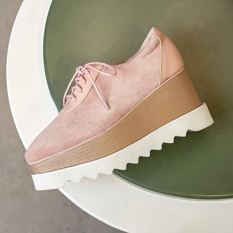 Krazing وعاء الأغنام الجلد المدبوغ للماء منصة عالية الأزياء أسافين حذاء حريمي كعب عالي عالية كوليتي الدانتيل يصل اليدوية الفاخرة أحذية L05-في أحذية نسائية من أحذية على  مجموعة 3
