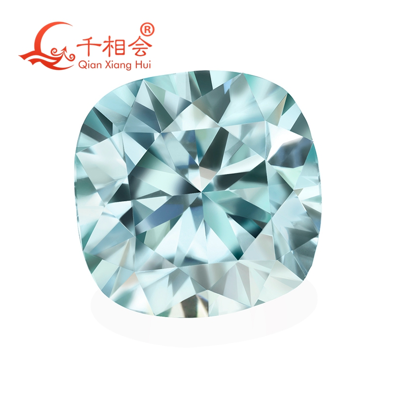 light blue color  cushion shape dia mond cut Sic material  Moissanite loose stone-in Beads from Jewelry & Accessories