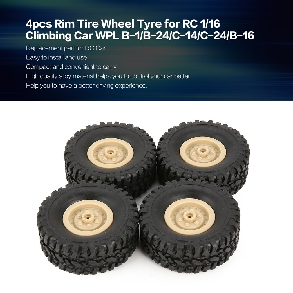 4pcs Rubber Wheel Rim Tire Tyre for RC 1/16 Climbing Crawler Car WPL B-1/B-24/C-14/C-24/B-16 Truck Part Spare Part Accessories small gtpases in disease part b 439
