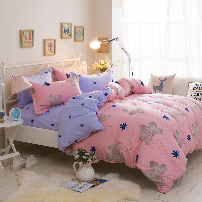 Maple leaves printing 4PCS Bed Set Pink Blue AB Side twin Full Queen size duvet cover set reactive printed bedlinen flat sheet in Bedding Sets from Home Garden