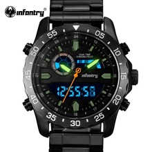INFANTRY Mens Watch Stainless Steel Luminous 30m Waterproof Military Quartz Watches LED Display Chronograph Sports Watch
