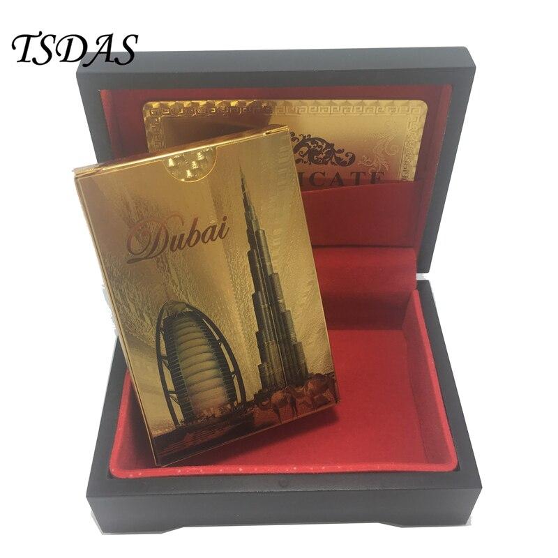 내구성 플라스틱 재생 카드 54pcs / 두바이 디자인, 검은 나무 상자와 24k 골드 포커 카드 테이블 게임 세트