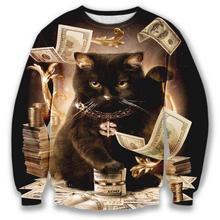 Alisister женщины/мужчины 3d толстовки Толстовка Потеет долларов cat печати кошки играют с доллар Джерси костюм basicswear пуловеры(China (Mainland))
