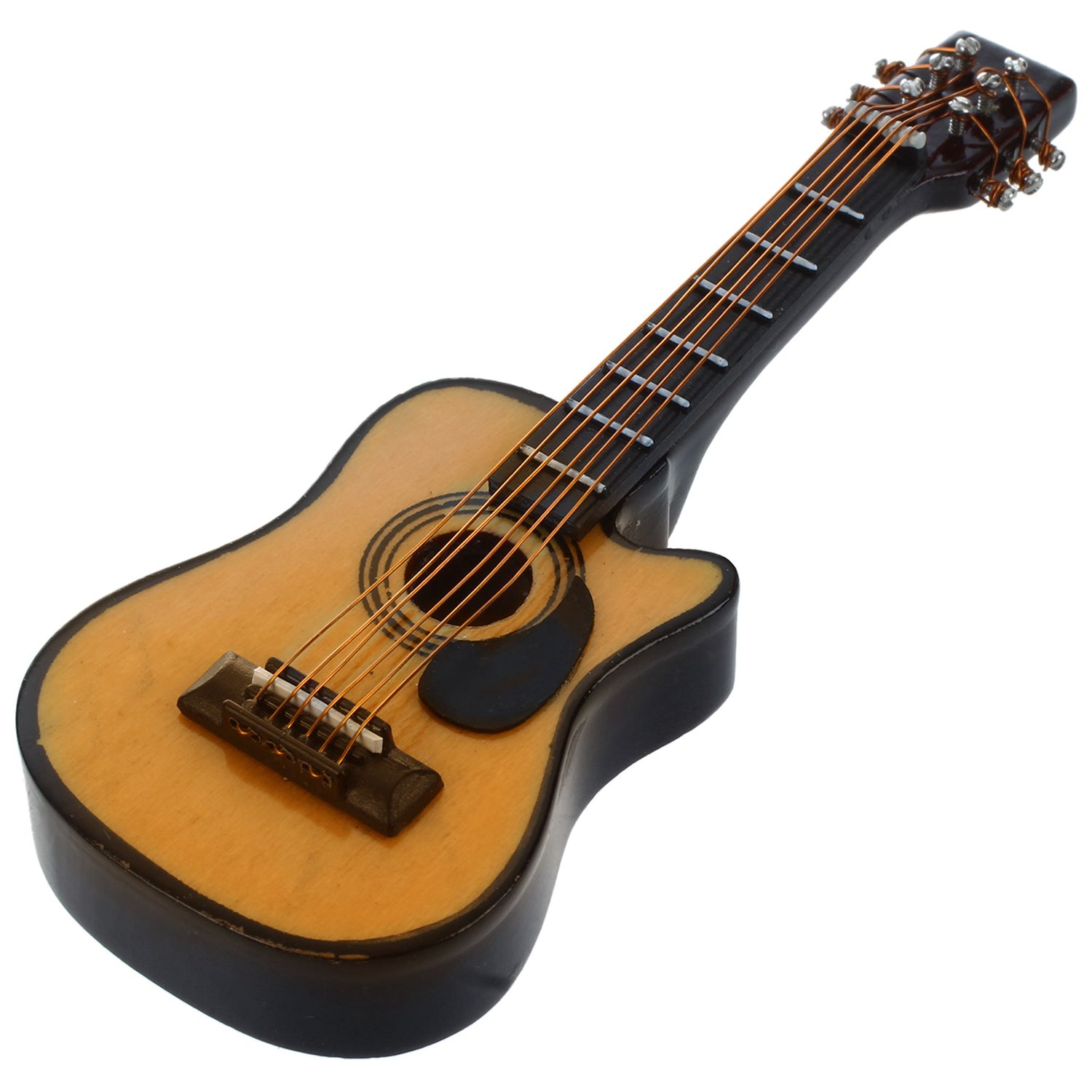 FBIL-1:12 Dollhouse Miniature Music Instrument Acoustic Guitar Yellow And Brown Red