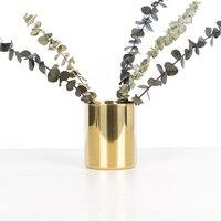2018 New Europe Stainless Steel Vase Desktop Decorations Organizer Bottles Pen Holders Garden Living Room Storage