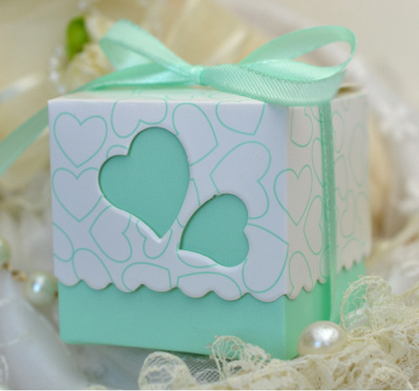 100pcs Mint Green Pink Purple Wedding Favors Square Heart Candy Bo Oniera Gift With Ribbons 6 5x6 5cm In Bags Wring Supplies