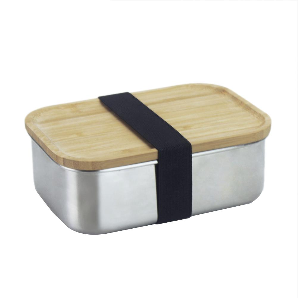304 Stainless Steel Lunch Box with Wooden Lid Japanese Style Lunch Box Square Bamboo Cover Sushi Bento Box for School Picnic