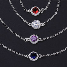 Women Leg Bracelets Foot Chains Feet Bangles Jewelry silver Round Gem Crystal Zircon Wedding Colorful Anklets