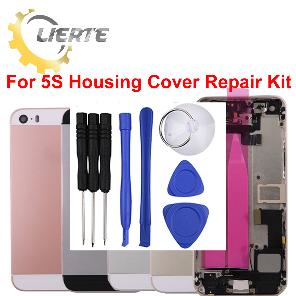 Torx Screwdriver Repair For IPhone 5S 5GS Frame Bezel Chassis Back Full Housing Battery Door Rear Cover Body With Flex Cable ia73 original chassis middle housing frame for iphone 4 silver