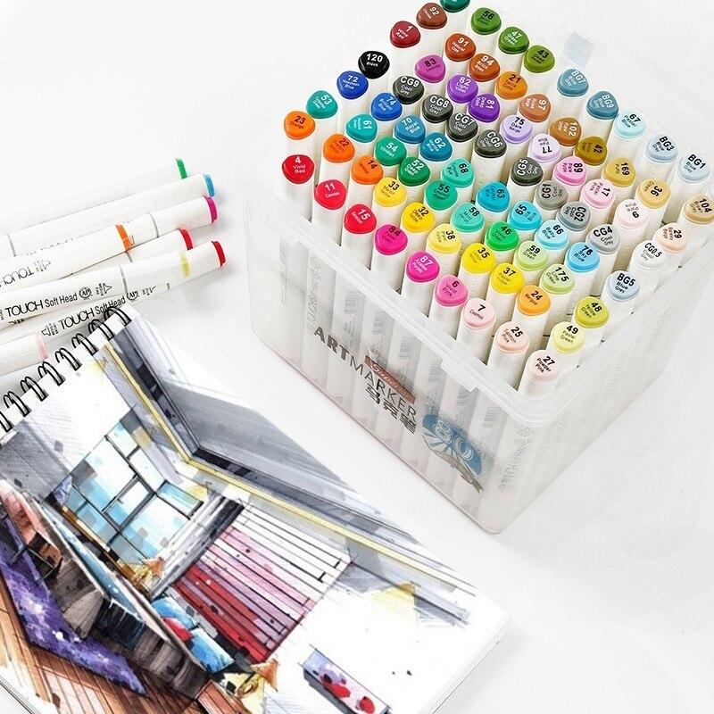 Supérieur 30/40/60/80/218 couleurs stylo marqueur Set double tête croquis marqueurs pinceau stylo pour dessiner Manga Animation Design Art fournitures
