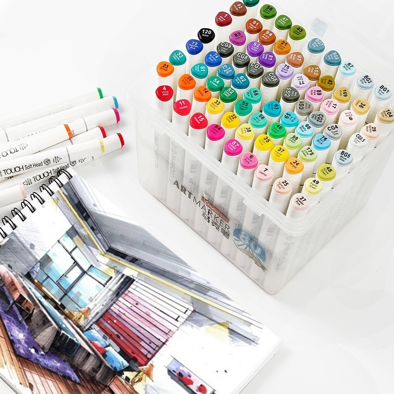 Superior 30/40/60/80/218 Colors Pen Marker Set Dual Head Sketch Markers Brush Pen For Draw Manga Animation Design Art Supplies sta alcohol sketch markers 60 colors basic set dual head marker pen for drawing manga design art supplies