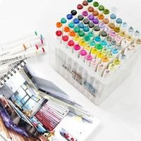 Superior 30/40/60/80/218 Colors Pen Marker Set Dual Head Sketch Markers Brush Pen For Draw Manga Animation Design Art Supplies