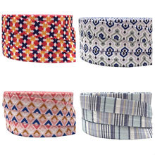 10yard 5/8 ''bande aztèque imprimé pli sur élastique cheveux cravates élastique cheveux accessoires ruban élastique porte-queue de cheval