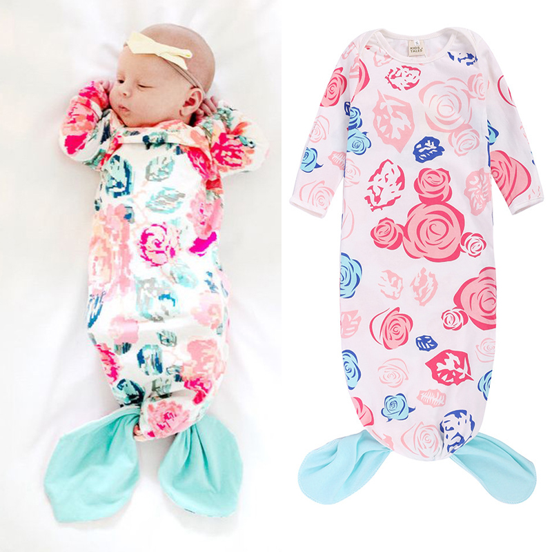 Cotton Newborn Baby Jumpesuit Cute Mermaid Style Toddler Baby Romper Clothes 0 6 Month Infant Swaddle Kids Clothes