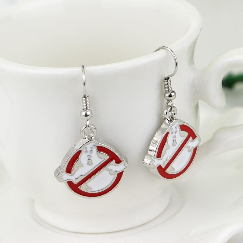Ghostbusters Earrings Silver Red White Enamel Halloween Ghost Pendant Ghostbusters Logo Drop Earrings Halloween Jewelry
