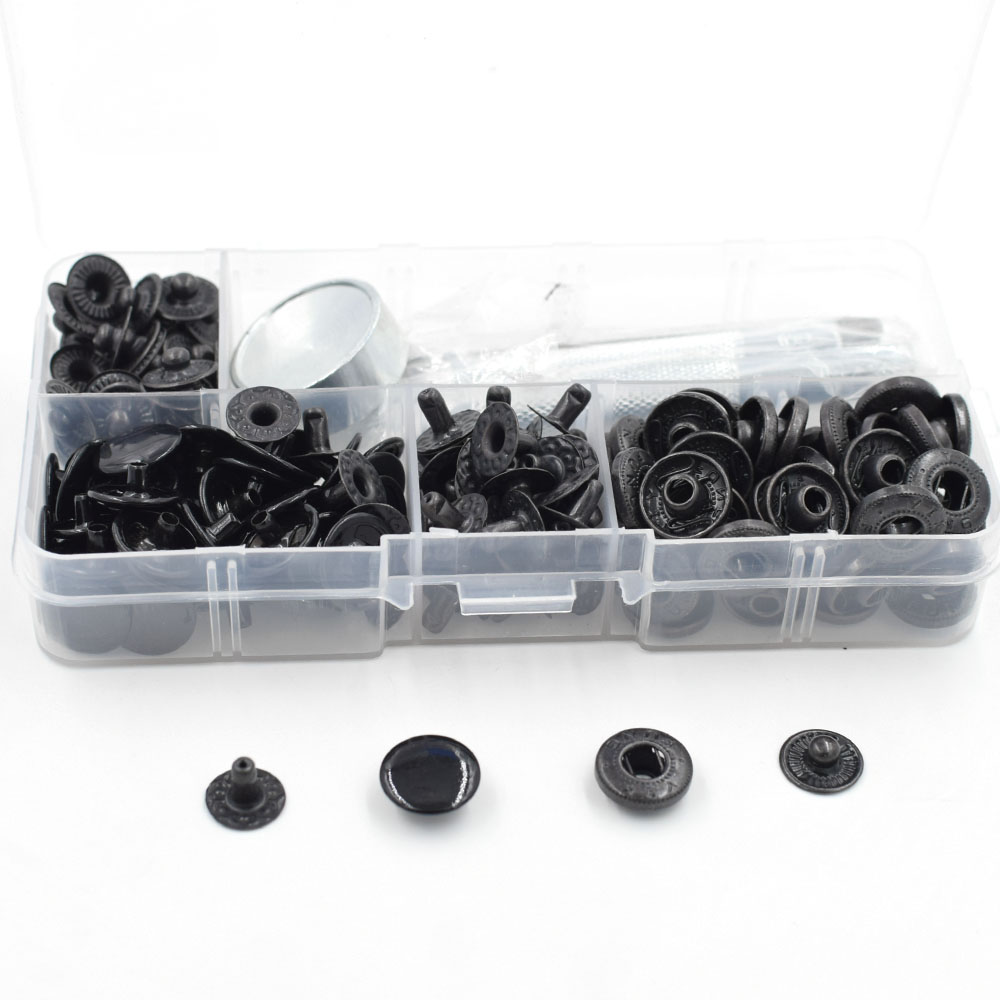 50 sets /lot 633 Button.Spring clasp12.5mm Black snaps rivet. Clothing & AccessoriesMetal buttons. Metal snap T8 T5 T3