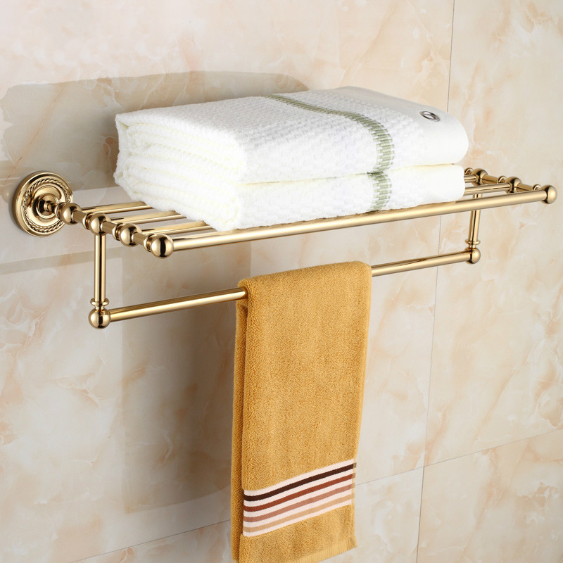 Antique round base golden chrome towel rack brass plated - Chrome plated brass bathroom accessories ...