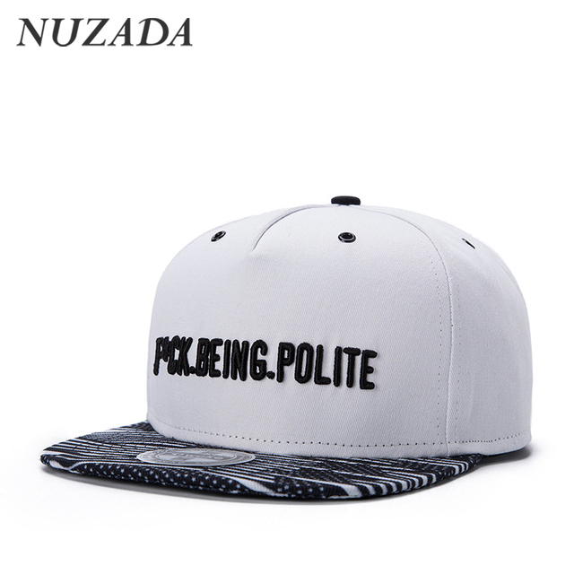 Brands NUZADA Simple style letter embroidery Punk Men Women Sports Hat Hats Baseball Cap Hip Hop Snapback Caps jt-034