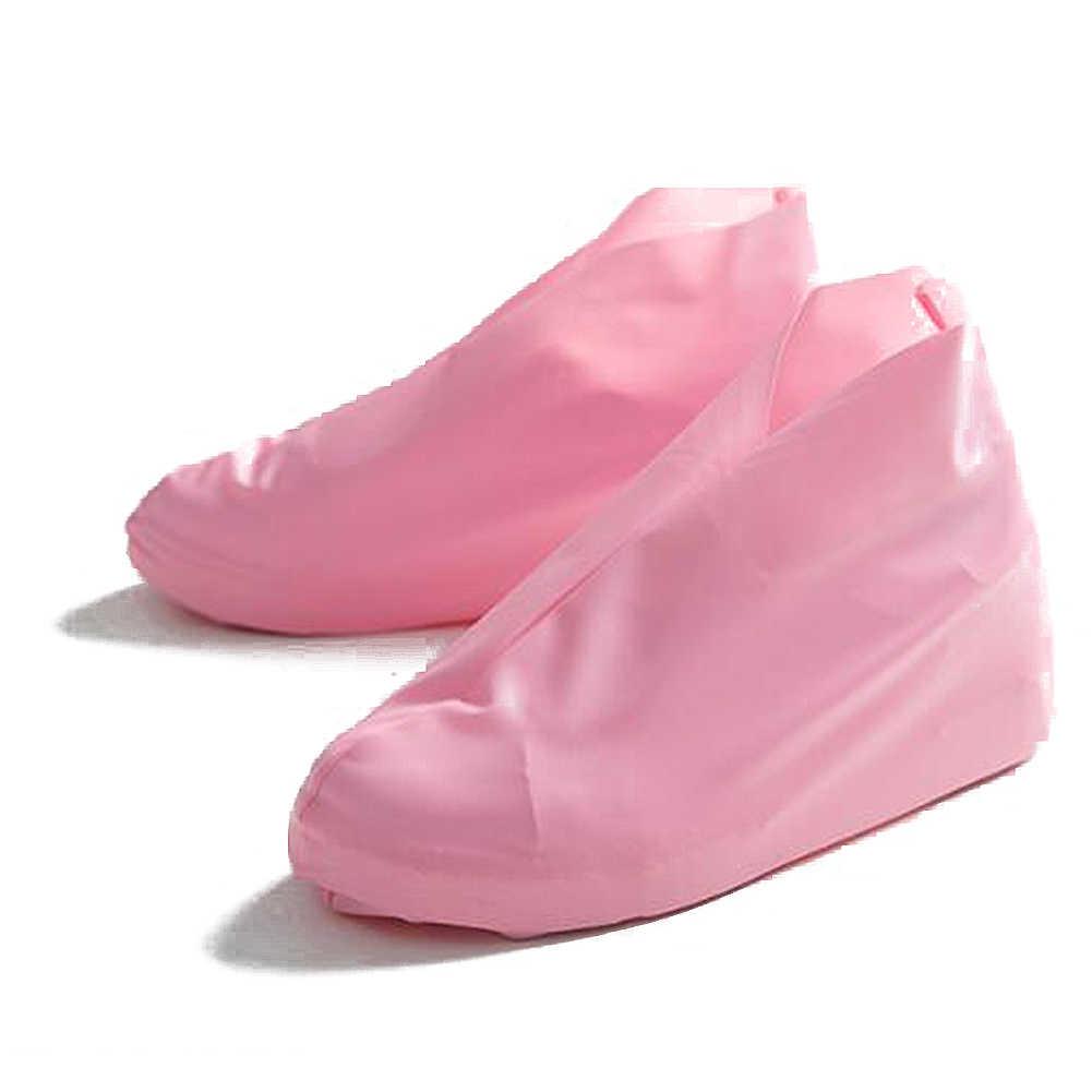 1 زوج قابلة لإعادة الاستخدام اللاتكس للماء أحذية المطر يغطي زلة مقاومة حذاء مطر من المطاط الجرموق S/M/2L إكسسوارات أحذية