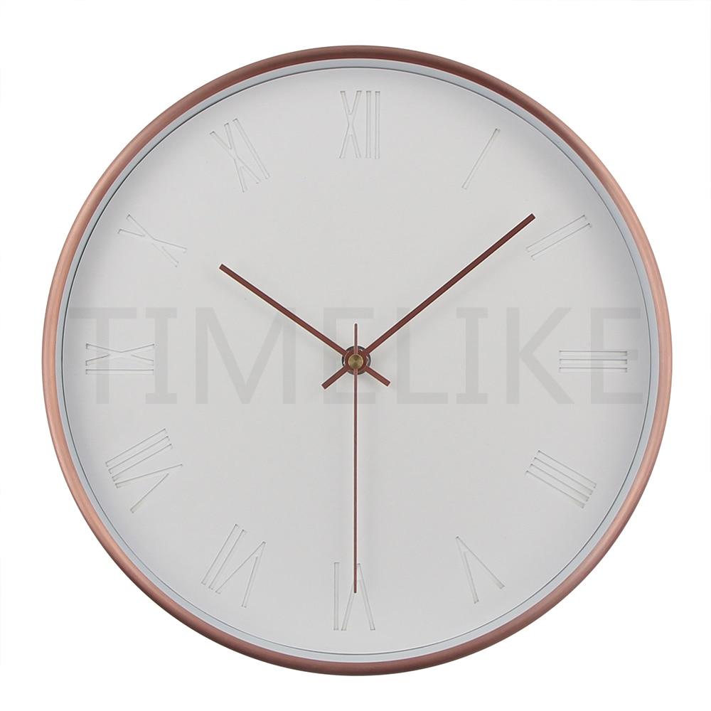 12 Inches Metal Creative Clcok Silent Living Room Quartz Wall Clock Round Modern Duvar Saati Home Decor