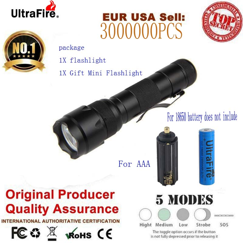E17 502A LED Flashlight Torch Flashlight Tactical Flashlight 1000LM Cree XM-L T6 LED 5 Mode LUZ Camping Light 18650/ AAA Battery waterproof xm l t6 2200 lumen torch tactical zoom led flashlight torch light lanternas led by 3 aaa 18650 battery