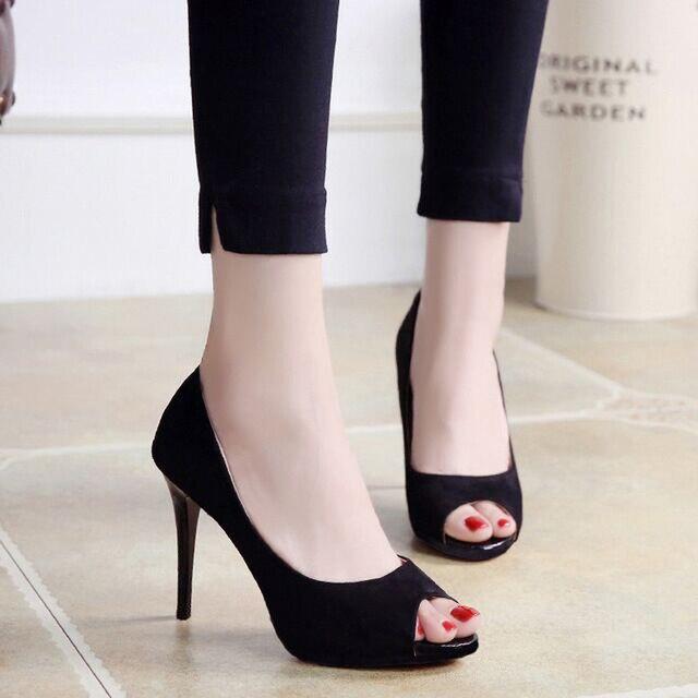 Été femmes pompes Sexy concis élégant chaussures de mariage noir talons aiguilles Peep Toe talon sandales dames NY 53