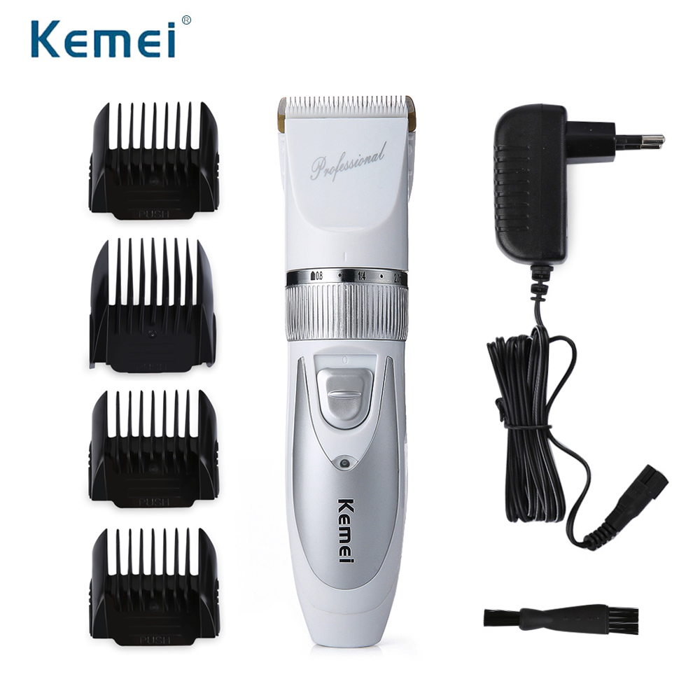 220V Include Battery Titanium Blade Kemei Professional Hair Trimmer Electric Hair Clipper Cutting Machine Electric Razor rechargeable hair clipper with accessories set 220 240v ac