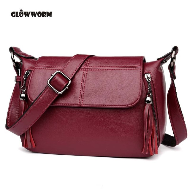 2018 New Fashion Designer Tassel Genuine Leather Women Small Shoulder Tote Handbag Ladies Crossbody Bag Purse