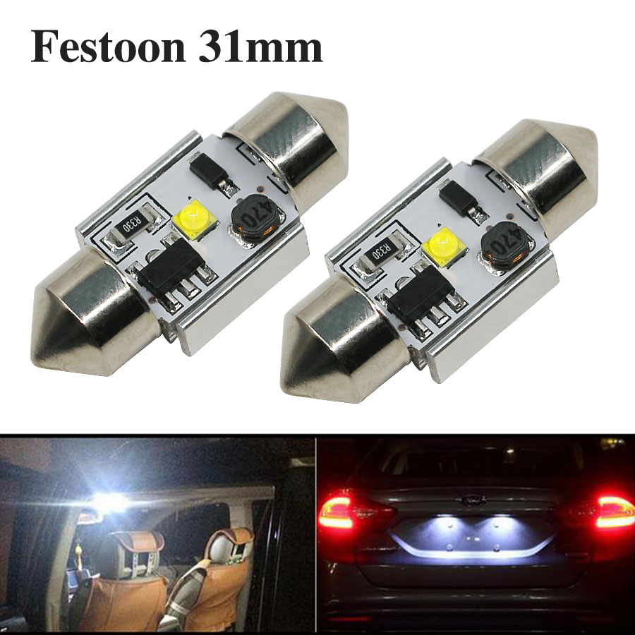 2PCS 31mm Festoon C5W C10W Auto Car Dome Door License Plate Reading Light Source Interior Bulb 12V 31mm Led Chips White New 10pcs auto t10 5 led 1w 5050 w5w wedge door parking bulb light car 5w5 led dome festoon c5w c10w license plate light xenon drl
