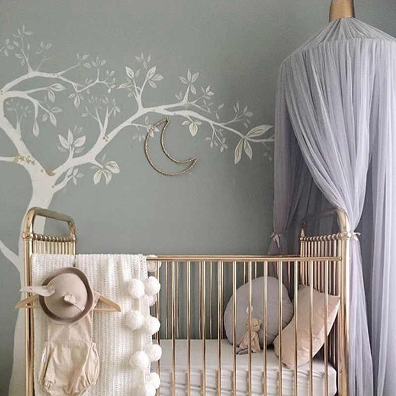 Round Dome Mosquito Net Canopy Curtain Bed Tent Circular Hanging Mosquito Net Home Decor Solid Color for Children Girl Room